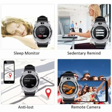 V8 Android Smartwatch With Sim & Tf Card Slot - Silver
