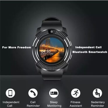 V8 Android Smartwatch With SIM & TF Card Slots - Black