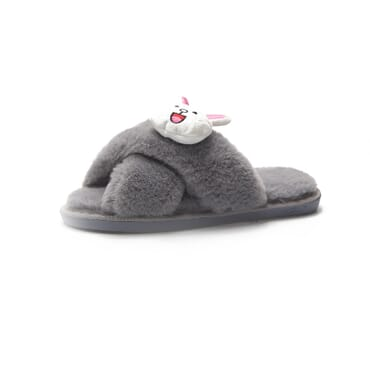 Female Embroidered Rabbit Fur Indoor Slippers