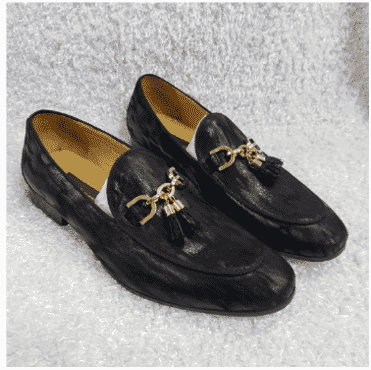 Designed Black Tassel Loafer Shoe + A Free Happy Socks