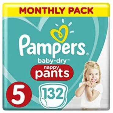Pampers Baby Dry - Size 5, 132 Nappy Pants, (12-17 Kg)