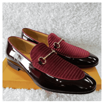 Wine Patent Leather & Velvet Loafer Shoe + A Free Happy Socks