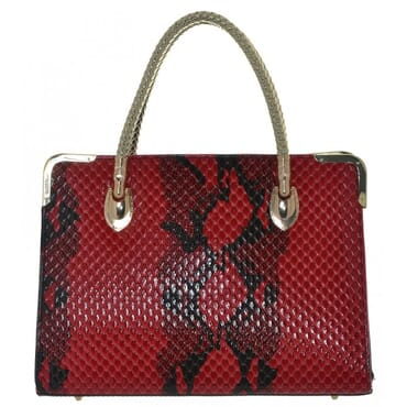 August Wish St. Louisa Women's Snake Skin Patent Handbag