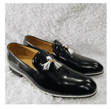 Shinny Leather Men's Tassel Loafer Shoe + A Free Happy Socks