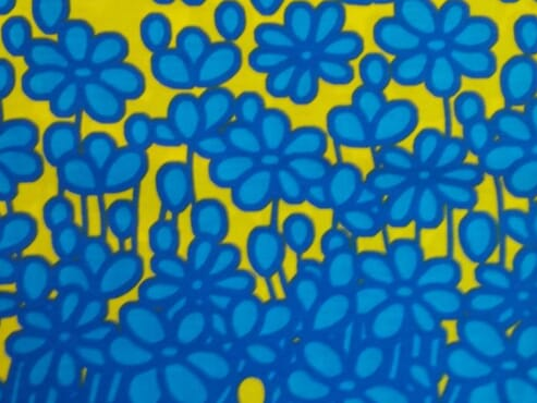 Blue and yellow daisies Ankara fabric