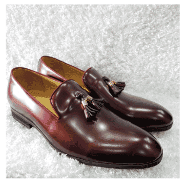Wine Men's Tassel Loafer Shoe + A Free Happy Socks
