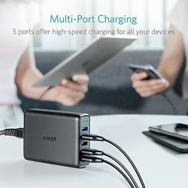 Anker 63W 5-Port USB Wall Charger with Dual Quick Charge 3.0 Ports Brand