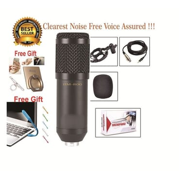 BM 800 Condenser Microphone Audio Mic Studio Sound Recording Microphone - Black + Free Gifts Of 1 USB Keyboard Light & 1 IRing Phone Holder