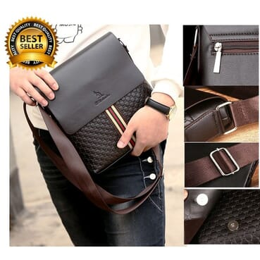 B N Daishu 4 Compartment Men PU Leather Shoulder Bag