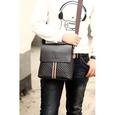 B N Daishu 4 Compartment Men PU Leather Shoulder Bag