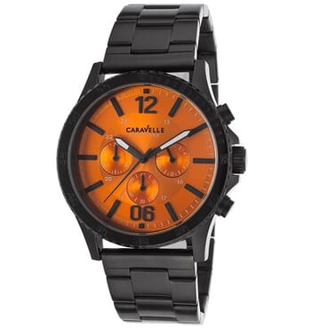 Caravelle New york Men's Chronograph Ip Ss Orange Dial - Black