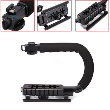 Camera Stabilizing Handle Bracket Holder C/U Shape Bracket Grip Portable Video Handheld Camera Stabilizer With Removable Hot Shoe