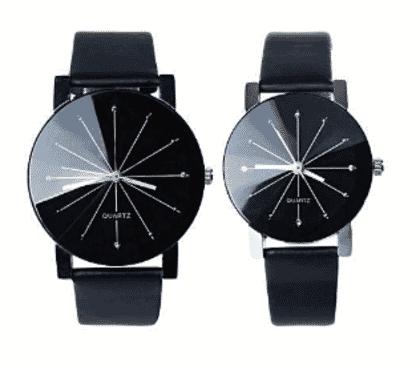 Fashion Couple Wrist Watch Casual PU Leather Round Dial Watchband
