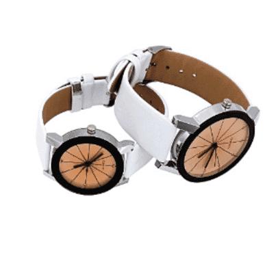 Generic Fashion A Pairs Couple Watch Quartz Dial Clock Leather WristWatch Round Case Men+Women White