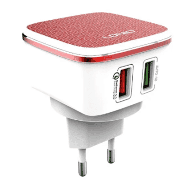 LDNIO Red Home Charger With One Universal Port And Qc 2.0 Port
