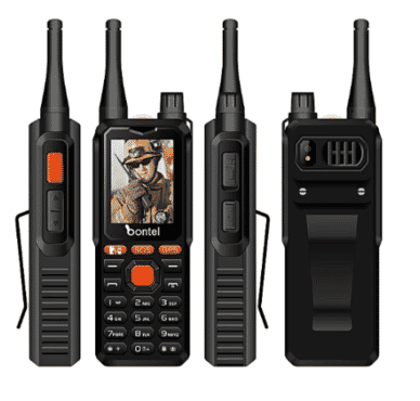 bontel A9 Dual Sim- 10km Range Walkie-talkie Phone- 10000 Mah Powerbank Function-black
