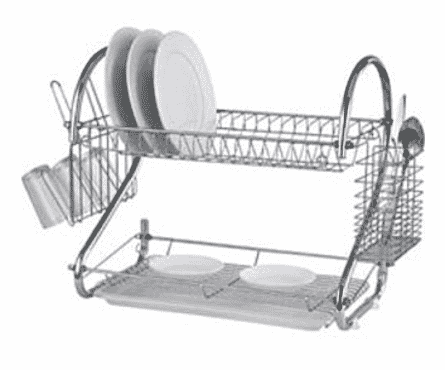 Kendoz Chef Plate Rack Non Rust Stainless Dish Drainer 2 Layers Cup & Cutlery Holder- Silver