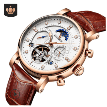 hollow mechanical watch fashion leather diamond star high-end men's watch