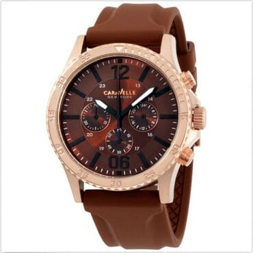 Caravelle Men's Chronograph Brown Strap And Dial With Rose Gold Case