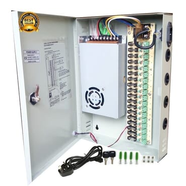Cctv 18 Channel CCTV Power Supply DC 12V. With Splitter Fuse Box, Power Cord And Fittings For Security Camera, LED Strip LED Display & Centralized Power Supply(18CH 12V 360W)