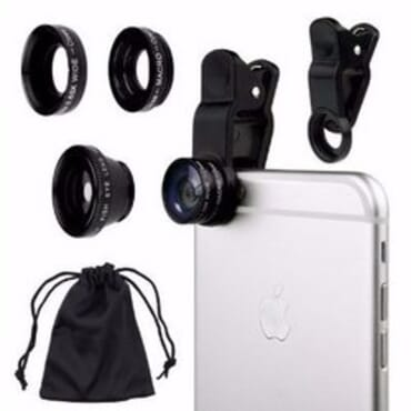 Universal Cell Phone Camera Lens Kit - Black