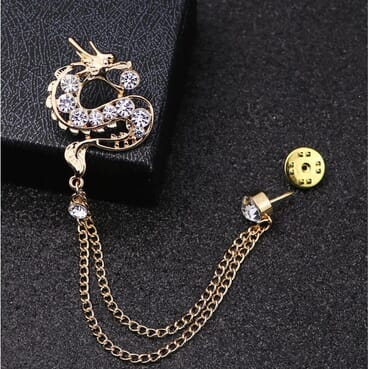 Chinese Dragon Brooch Pin Pendant Rhinestone