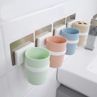 Creative Coloured Cups Toothbrush and Toothpaste Holder