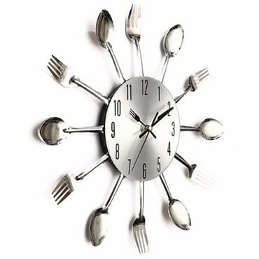 Cutlery Kitchen Clock-Silver