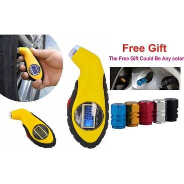 Digital Tire Pressure Gauge Meter With Backlit LCD + Free 4pcs Aluminum Alloy Tyre Valve Cap