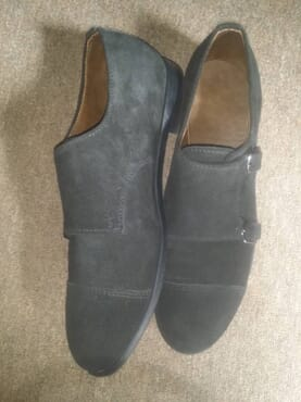 E-Kings Handmade Suede Double Monk Strap Shoes
