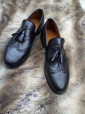 E-Kings Men's Handmade Wingtip Slip-on Tassel Loafers