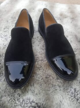 E-Kings Handmade Glossy and Suede Captoe Men Loafer Shoes
