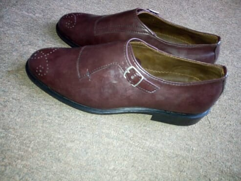 E-kings Handmade Single Monk Strap Leather Shoes