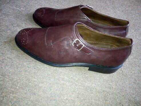 E-kings Handmade Single Monk Strap Leather Shoes