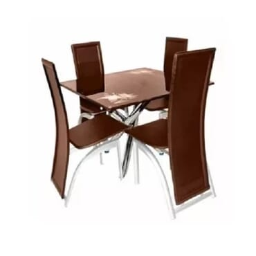 Dining Table With 4 Classic Chairs - Brown