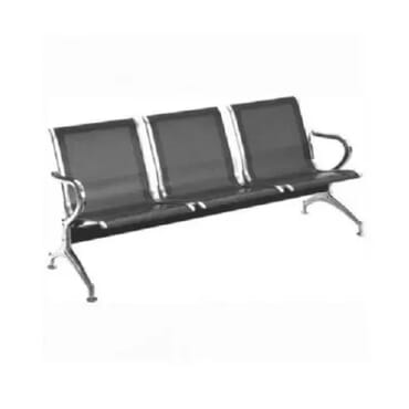 3 Seater Reception Chair - Black