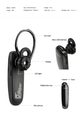 Earbud Stereo Bluetooth Headset (le001) Black