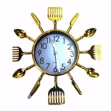 GOLD Cutlery Design - Kitchen Clock