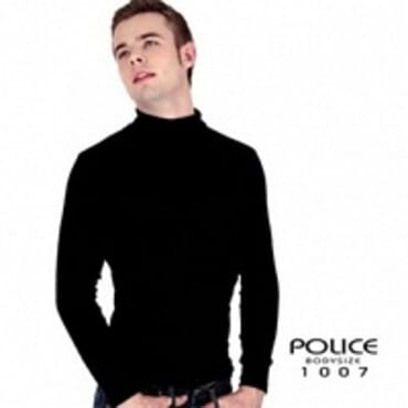 POLICE 1007 FREESIZE TURTLE NECK PLAIN BLACK/WHITE/GREY LONG SLEEVE T-SHIRT