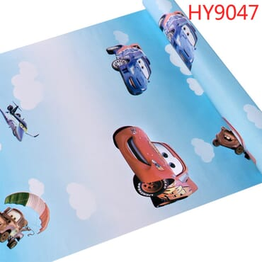 Self-Adhesive Car Theme Vinyl Decorative Cartoon Wallpaper
