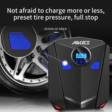 AIKESI Portable Air Compressor Car Pump Auto Tire Inflator Portable Electric 12V Digital Tyre Inflatable Pump for Car Tires