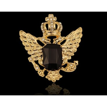 Head Eagle Wings Big Crown Rhinestone Brooches For Men Suit