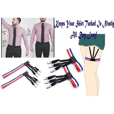 Men Shirt Stays Dress Shirt Suspenders Shirt Garter Keepers with Non-slip Locking Clamps
