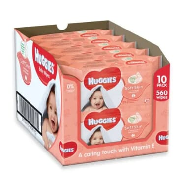 Huggies Soft Skin Baby Wipes - 10 Packs (560 Wipes Total)