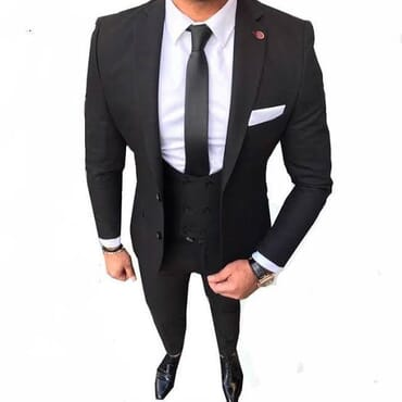 Foreign Black Three Piece Suit