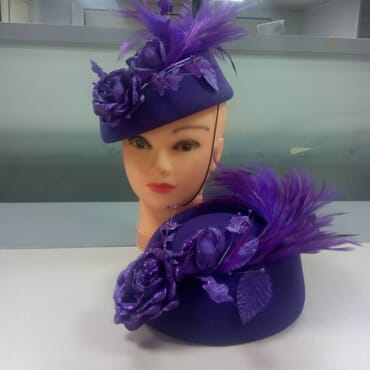 Emirates Hats designed with feathers and dazzling rose