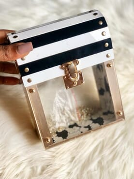 Nissiratti translucent box clutch purse