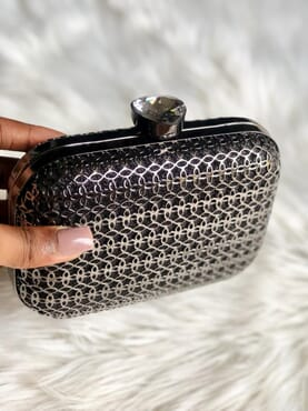 Nissiratti black and silver clutch purse