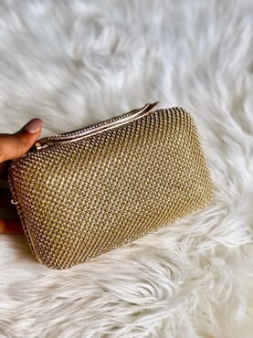 Nissiratti goldtone stone clutch purse