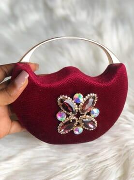 Nissiratti red crystal clutch purse